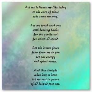 Massage Therapist Prayer Poster