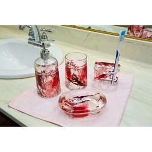 4 Piece Acrylic Bathroom Accessories Set Red Leave Gift