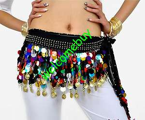 Black Belly Dance Hip Scarf Wrap Belt Skirt Gold Sequins wavy