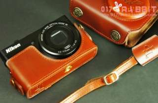 100% Genuine Real COW Leather case bag cover for Nikon P300 camera