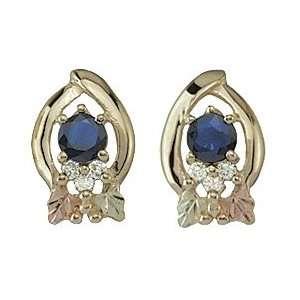 Black Hills Gold Sapphire & Diamond Earrings Jewelry