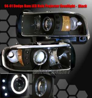 94 01 DODGE RAM LED HALO PROJECTOR HEADLIGHTS BLK 98 99