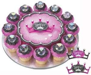 Sweet 16 Pink Black Crown Cake Cupcake Decoration Toppers Layons  2