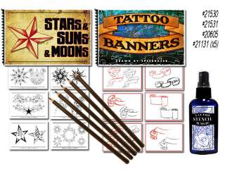 Tattoo Flash Art Book Stencil Pencils Supplies Magic