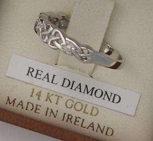 14K WHITE DIAMOND CELTIC KNOT RING IRISH MADE SIZE 6.5