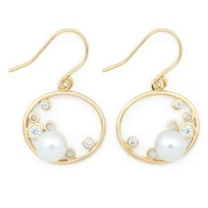 Pearl and Gold plated Oval Bubble Earrings Pearlzzz Jewelry