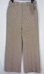 Vtg 70s Brown Check Mens Poly Disco Pants 34x28 H52