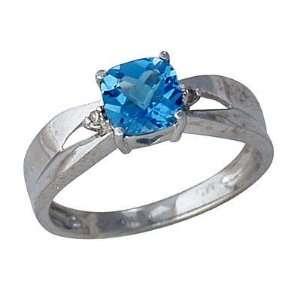 Cushion Cut Blue Topaz & Diamond White Gold Ring SZUL Jewelry