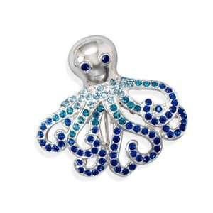 Happy Octopus Pin Brooch with Blue Swarovski Crystal Three