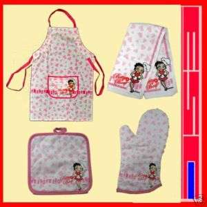 Betty Boop Kitchen 4 Pcs Set Apron Towel Oven Mitt