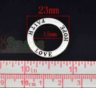 20 Silver Tone Love Hope Faith Ring Pendants 23mm for Necklace