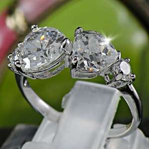 Lovely Heart 18KGP White Gold Plated CZ Ring Size 7.5 R034