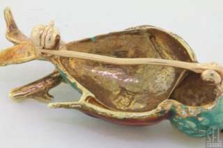 ADORABLE DIAMOND/RUBY RED/GREEN/YELLOW ENAMEL PARROT BIRD PIN/BROOCH