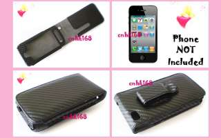 BLACK Carbon Fiber Leather Case Cover for iPHONE 4G phone + GIFT