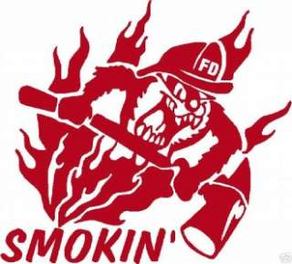 Firefighter Sticker  Smokin Taz Decal 4x4   WHITE