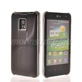 METAL HARD PLASTIC PLATED CASE COVER FOR LG OPTIMUS 2X P990 BLACK
