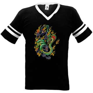 Green Cobra Vs Black Panther Fire Tattoo Ringer T Shirt