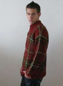 RALPH LAUREN WOOL HAND KNIT RED TARTAN PLAID MANS SWEATER PULLOVER