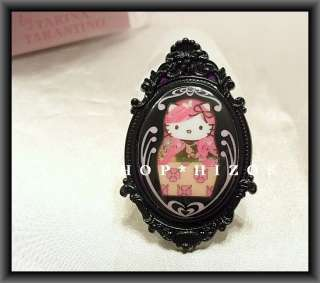 TARINA TARANTINO PINK HEAD HELLO KITTY BLACK CAMEO RING