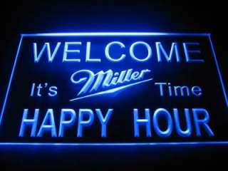 Happy Hour Welcome Miller Beer Bar Light Sign Neon B523
