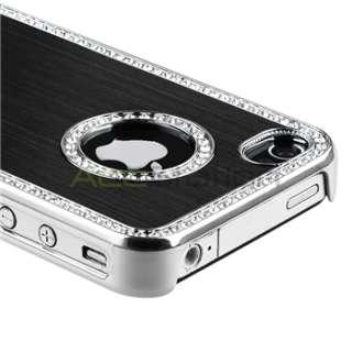 Bling Diamond Black Back Cover Hard Case+Screen Pro+Pen For iPhone 4