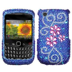 Juicy Flower Crystal Bling Hard Case Phone Cover for BlackBerry Curve