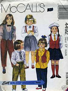 Girls Size 4 5 6 Vest Blouse Skirt Pants Sewing Pattern McCall 4492