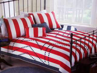TWIN SIZE QUILT QUILTED COVERLET RED WHITE BLUE USA AMERICA