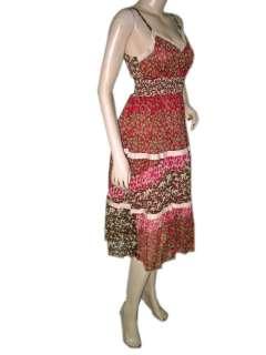 Strap Dress Brown Red Floral Print V neckline Sundress ONSale