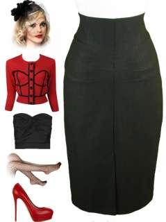 50s Style BLACK Bombshell PINUP High Waist WIGGLE Pencil Skirt w
