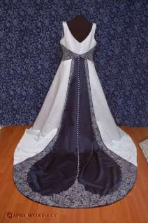 Bonny White & Navy Blue Satin Embroidered & Beaded Wedding Dress 24