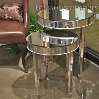 Round MODERN Mirrored END Side Accent TABLES Mirror