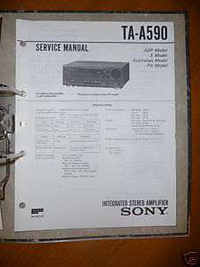 Service Manual Sony TA A590 Amplifier,ORIGINAL