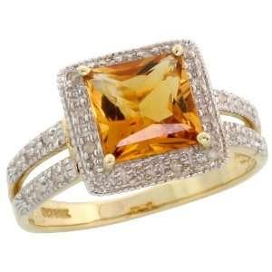 Cut Diamonds & 2.50 Carats (7mm) Princess Cut Citrine Stone, 3/8 in