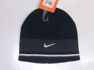 Boys Beanie Hat Cap NIKE Swoosh Black Gray White 4 5 6 7