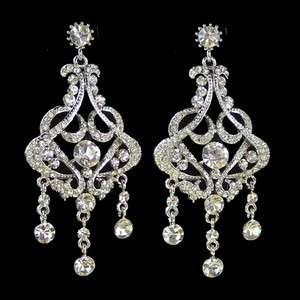 White Swarovski Crystal Bridal Chandelier Earrings