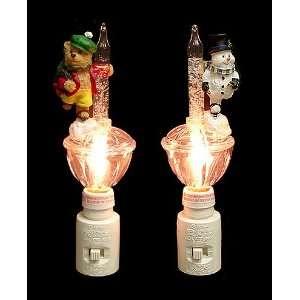 Set of 2 Bubble Light Christmas Night Lights Snowman & Bear