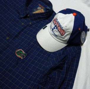 FLORIDA GATORS The Swamp~SHIRT & CAP/HAT SET~Men XXL~Navy Blue Plaid