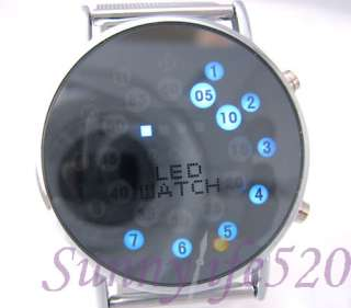 Fashion Blue LED Aniamation Men Women Lady Mirror Watch