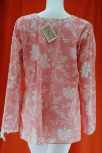 NWT SULU LEELA KURTI BEADED PINK TUNIC COVER UP Sz 12