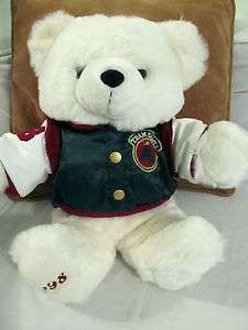 Large 20 inch White 1998 Team Santa Christmas Teddy Bear Green Varsity