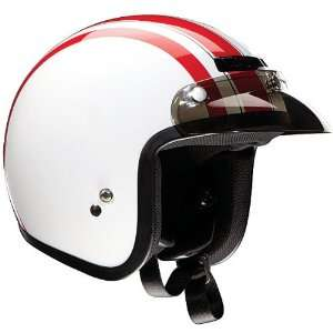 Adult Jimmy Harley Cruiser Motorcycle Helmet   White/Red / X Small
