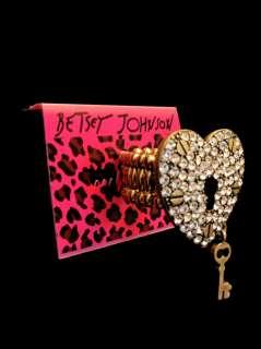 Betsey Johnson Heart Lock & Key Crystal Ring Stretchy