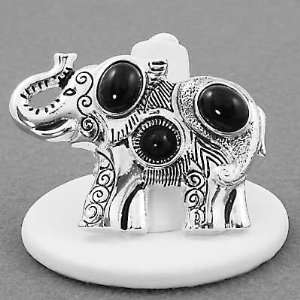 Elephant Ring with Black Resin Jewels   Adjustable Stretch Band