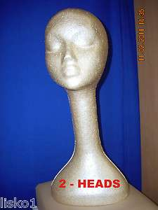 TAN LONG NECK (19 TALL ) STYROFOAM MANNEQUIN WIG / HAT DISPLAY (2