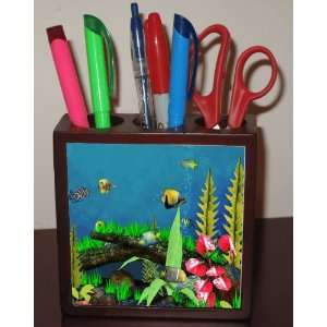 Rikki KnightTM Tropical Fish in Tank Design 5 Inch Tile Maple Finished
