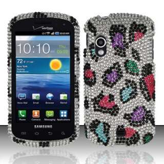 Leopard Iced Bling Hard Case Cover Samsung Stratosphere i405 Verizon