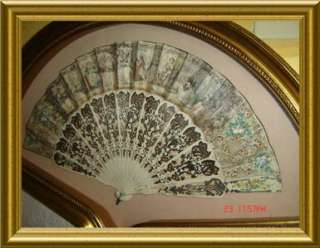 ANTIQUE LARGE Matching Pair of Framed Lady Fan STUNNING