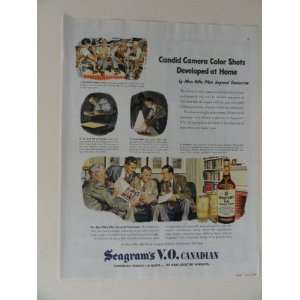 seagrams V.O. Canadian. 40s full page print ad. (candid camera color