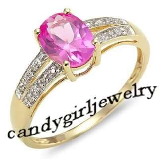 Deluxe Pink Sapphire Womans 10KT Yellow Gold Filled Ring Size 8